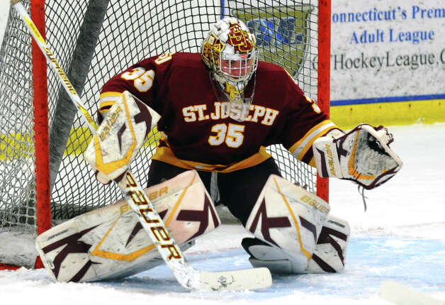 St. Joseph goalie Marc Van Etten, during hockey action against Trumbull in Shelton, Conn. on Wednesday January 23, 2013. Photo: Christian Abraham / Connecticut Post
