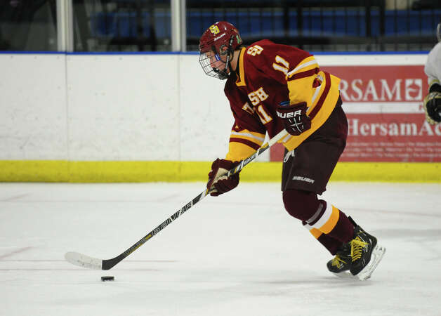 St. Joseph's #11 Sean Hurley, during hockey action against Trumbull in Shelton, Conn. on Wednesday January 23, 2013. Photo: Christian Abraham / Connecticut Post