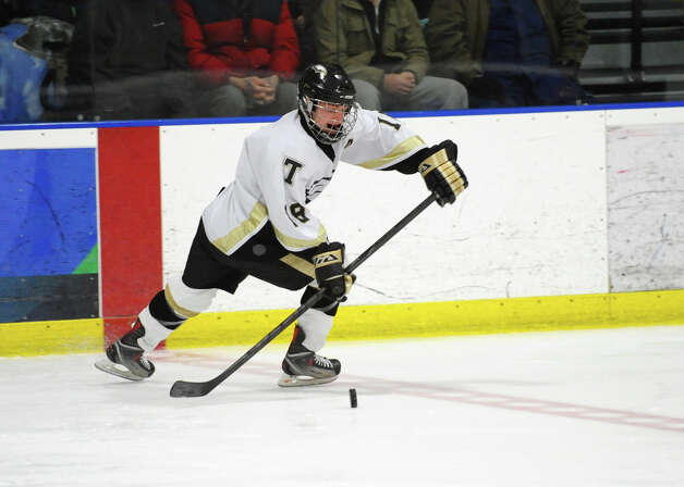 Trumbull's #18Sean Gallagher, during hockey action against St. Joseph in Shelton, Conn. on Wednesday January 23, 2013. Photo: Christian Abraham / Connecticut Post