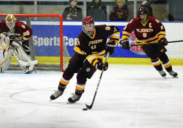 St. Joseph's #41 Colin Powell, during hockey action against Trumbull in Shelton, Conn. on Wednesday January 23, 2013. Photo: Christian Abraham / Connecticut Post