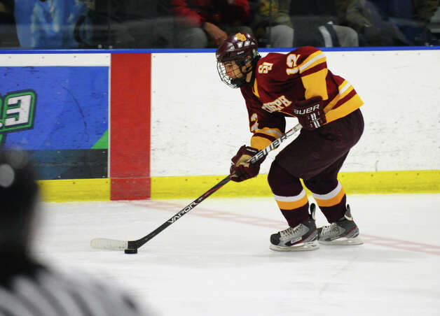 St. Joseph's #12 Mark Laoue, during hockey action against Trumbull in Shelton, Conn. on Wednesday January 23, 2013. Photo: Christian Abraham / Connecticut Post