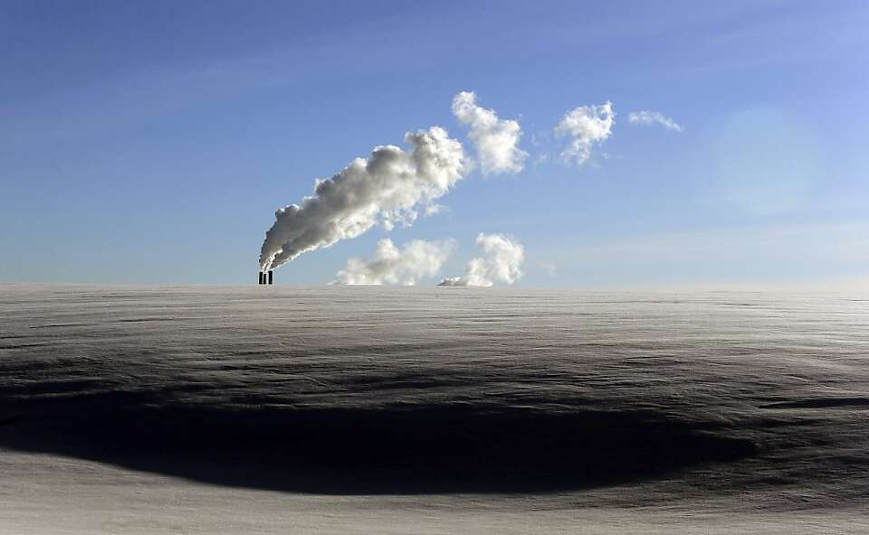 Steam from a heating plant rises as at temperatures of -14 degrees Celsius (-6.8 degrees Fahrenheit)