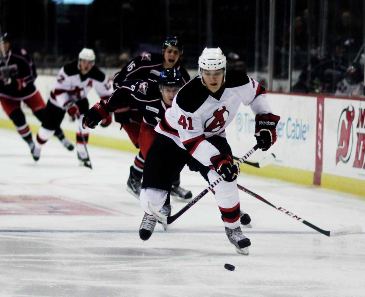 Raman Hrabarenka (41) of the Albany Devils, breaks toward the Springfield Falcon's goal, Wednesday evening, Jan. 23, 2013, during the first period at the Times Union Center in Albany, N.Y. (Dan Little/Special to the Times Union).