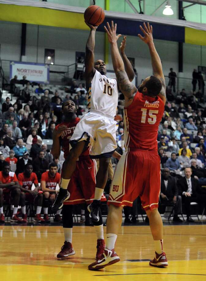 UAlbany's Mike Black takes a shot during their men's college basketball game against Boston University at the SEFCU Arena on Wednesday Jan. 23,2013 in Albany, N.Y. (Michael P. Farrell/Times Union) Photo: Michael P. Farrell