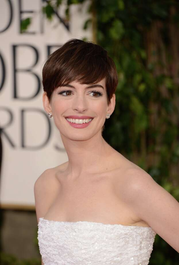 Anne Hathaway in 2013, at the  Golden Globe Awards in January. She's been nominated for her work in 'Les Miserables.'  Photo: Jason Merritt, Getty Images / 2013 Getty Images
