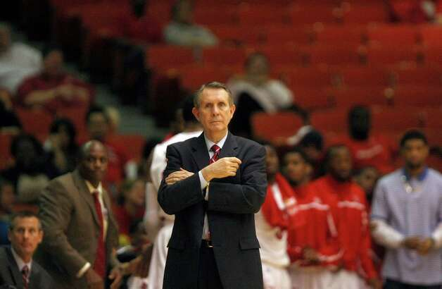 University of Houston coach James Dickey in the first half as the University of Houston played the University of Tulsa at Hofheinz Pavilion Wednesday, Jan. 23, 2013, in Houston. Photo: Johnny Hanson, Houston Chronicle / © 2013  Houston Chronicle