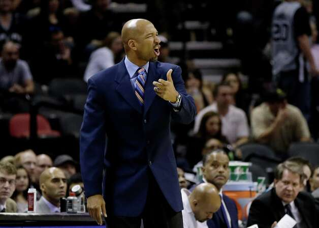 New Orleans Hornets head coach Monty Williams argues a call during the fourth quarter of an NBA basketball game against the San Antonio Spurs, Wednesday, Jan. 23, 2013, in San Antonio. Photo: Eric Gay, Associated Press / AP