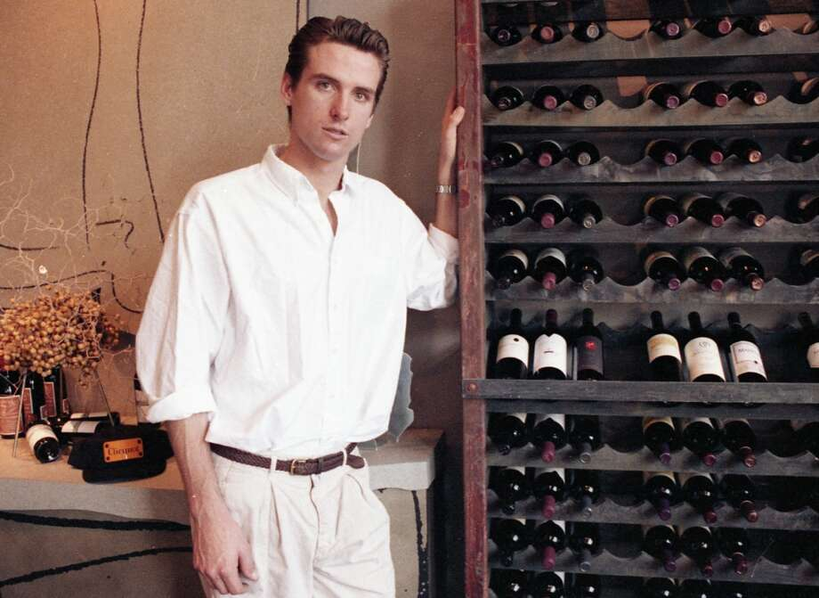 Oct. 22, 1992: Gavin Newsom at age 25, looking a little deer-in-headlights in a San Francisco Chronicle story about the opening of his PlumpJack Wine Shop. Give him points for his understated style in the fashion-backwards 1990s. He could easily be wearing a puffy shirt  in these photos ... Photo: Fred Larson, The Chronicle / ONLINE_YES