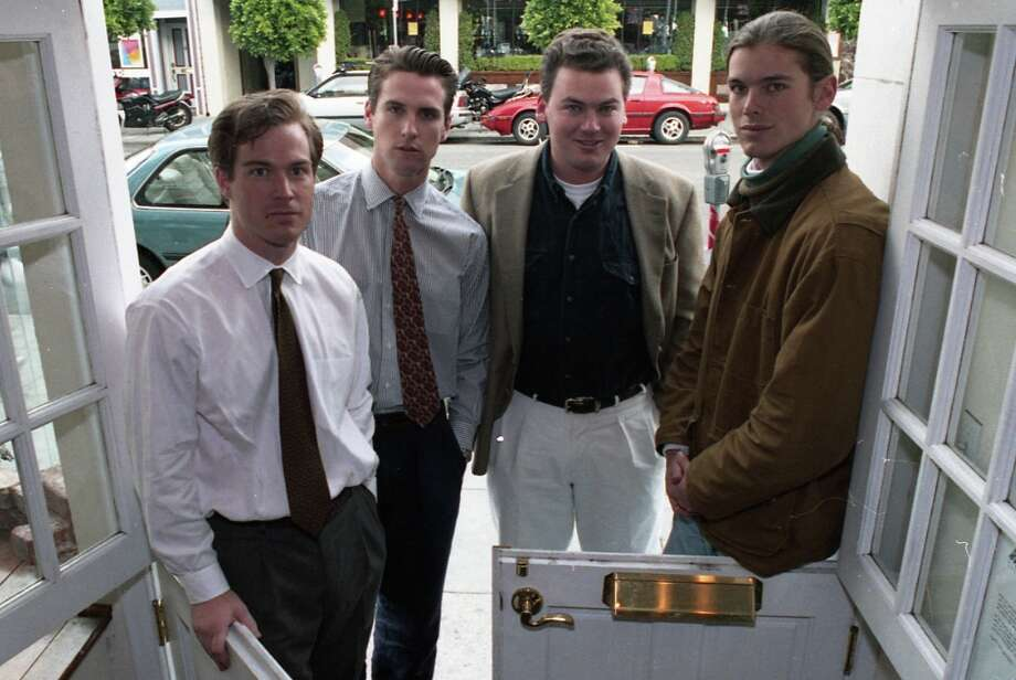Dec. 12, 1991: This was 24-year-old Gavin Newsom's first photo appearance in the San Francisco Chronicle, for a story about endeavors of the children of the rich. Posing here with Paul Mohen, Andrew Getty and Billy Getty. A later story referred to them as San Francisco's brat pack. Photo: Scott Sommerdorf, The Chronicle / ONLINE_YES