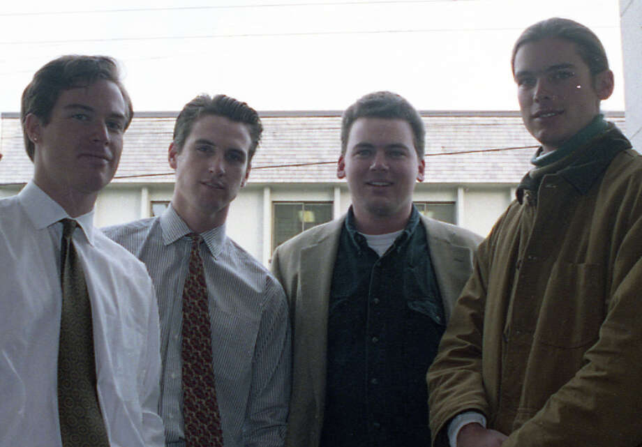 A closer look at Newsom and his PlumpJack co-owners, months before the wine shop opened. If this photo was made into a 1980s R-rated teen comedy, Newsom would be the more experienced Rob Lowe character. Billy Getty would be played by John Cusack, but would have to cut the pony tail. Photo: Scott Sommerdorf, The Chronicle / ONLINE_YES