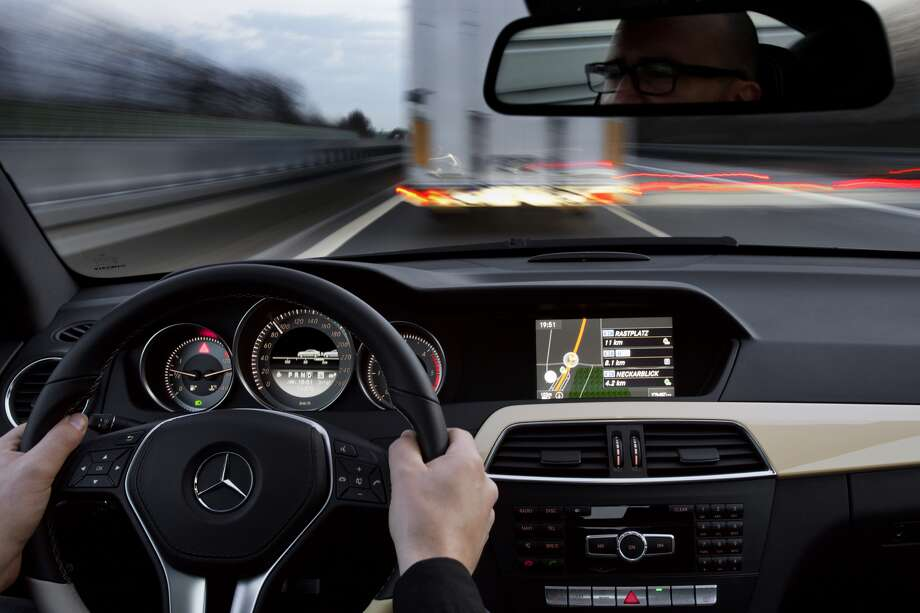 Speed Control: Using sensors, a car can maintain a safe distance away from other vehicles in its lane. The feature enables drivers to use cruise control without adjusting it for slower vehicles. Photo: Mercedes-Benz