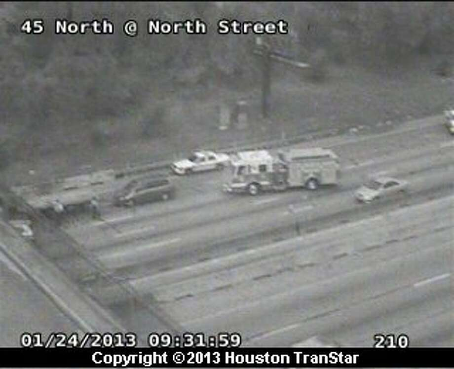 Traffic was snarled after 3-car crash on the North Freeway near main about 9 a.m. Thursday. Photo: Houston Transtar