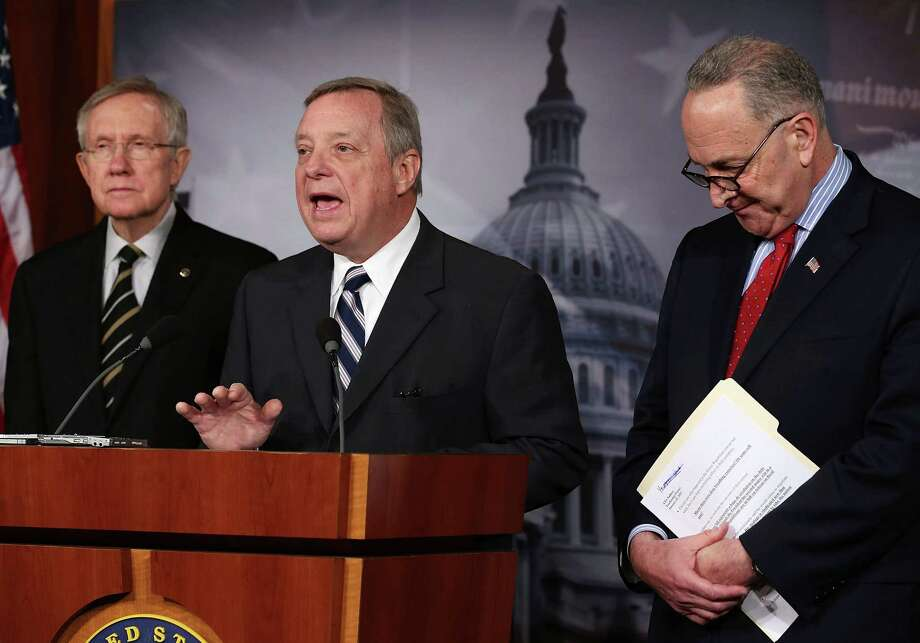 According to one reader, the country would have fewer problems if politicians such as Sens. Richard Durbin (center) and Chuck Schumer (right), shown here with Senate Majority Leader Harry Reid, were fair-minded. Photo: Mark Wilson, Getty Images / 2013 Getty Images