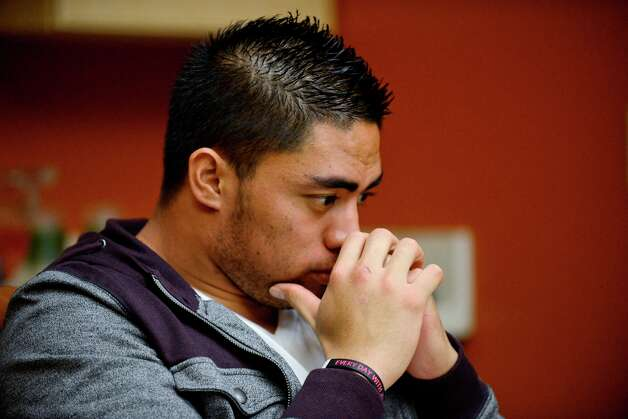 Notre Dame linebacker Manti Te'o pauses during an interview with ESPN on Friday, Jan. 18, 2013, in Bradenton, Fla. Photo: Ryan Jones, AP / ESPN Inc.2013