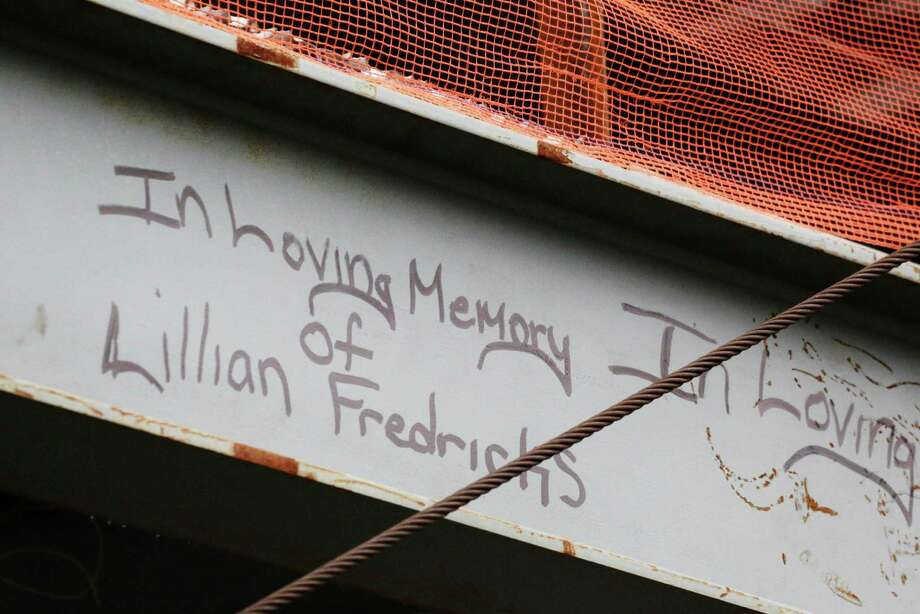 This Jan. 15, 2013 photo shows a tribute in graffiti to Lilian Fredricks that a construction worker left on a steel column on the 104th floor of One World Trade Center in New York. Fredericks was killed in the 2001 terror attacks. Workers finishing New York's tallest building at the World Trade Center are leaving their personal marks on the concrete and steel in the form of graffiti. Photo: Mark Lennihan, AP / AP