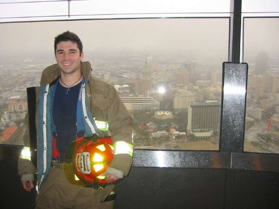 Tony Rodriguez, a captain in the San Antonio Fire Department, will wear full bunker gear as he goes up the steps of the Tower of the Americas during the 28th Tower Climb and Run on Saturday, Feb. 2. The event is a fundraiser for the Lone Star Chapter of the Cystic Fibrosis Foundation. Courtesy photo. Photo: Courtesy