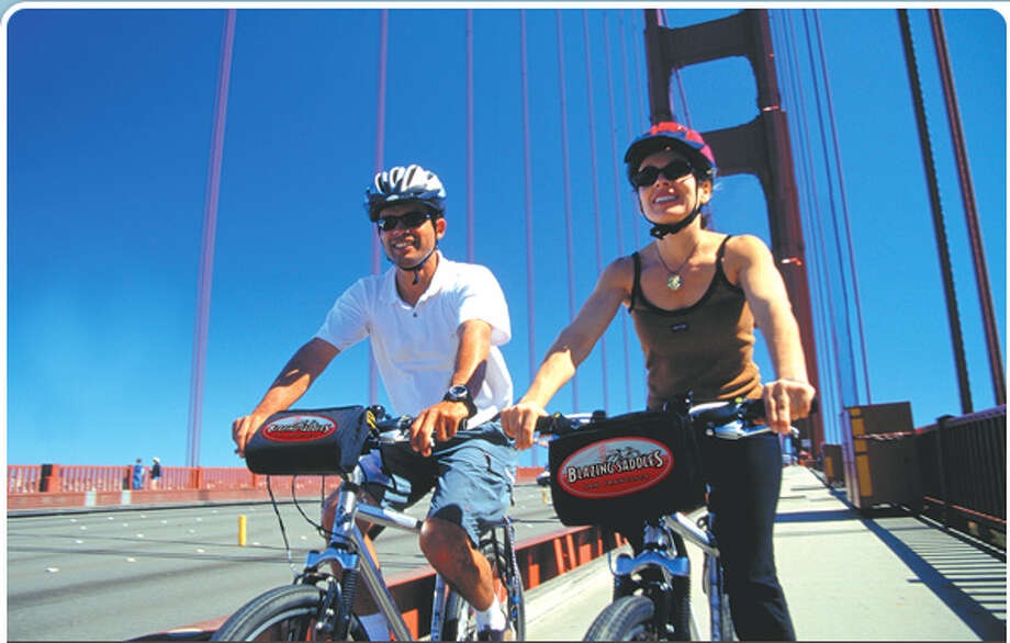 Biking over the Golden Gate Bridge raises the blood pressure in many ways. Save some energy to tool around Marin too, often a great way to reintroduce vitamin D into your system during foggy SF summers. Photo: Blazing Saddles.