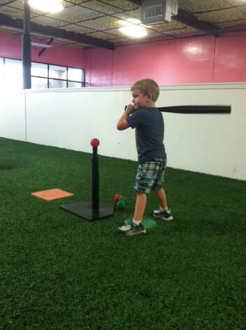 Noah Duke plays tee ball at the Alamo TotSports center. Photo: Courtesy Photo