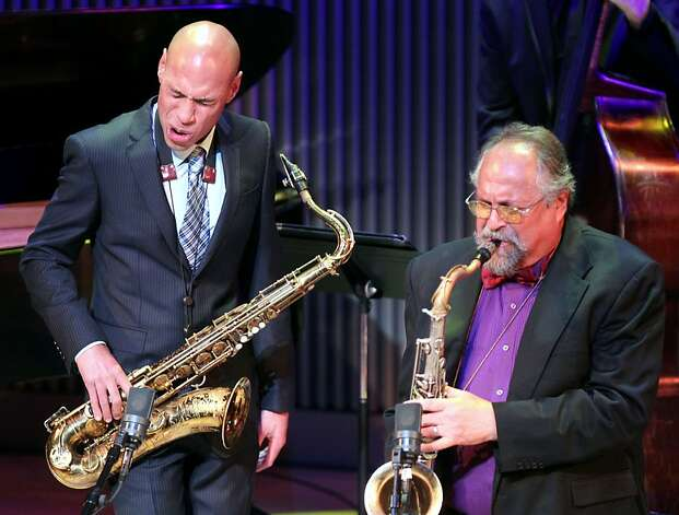 Saxophonists Joshua Redman (left) and Joe Lovano collaborate. Photo: Lance Iversen, The Chronicle