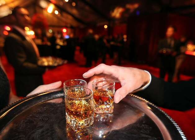 Shots of bourbon await guest attending the Gala party before the opening night concert of the SFJAZZ Center Wednesday, Jan. 23, 2013 in San Francisco. Photo: Lance Iversen, The Chronicle