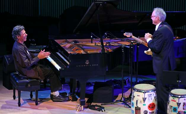 Pianist Chick Corea and guitarist Bill Frisell, left, improvise. Photo: Lance Iversen, The Chronicle