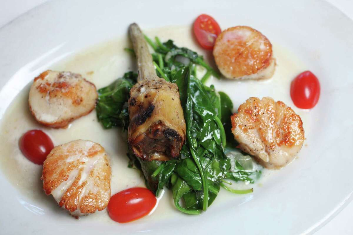 Capesante alla Luce (scallops with sauteed spinach) at Luce restaurant January 23, 2013