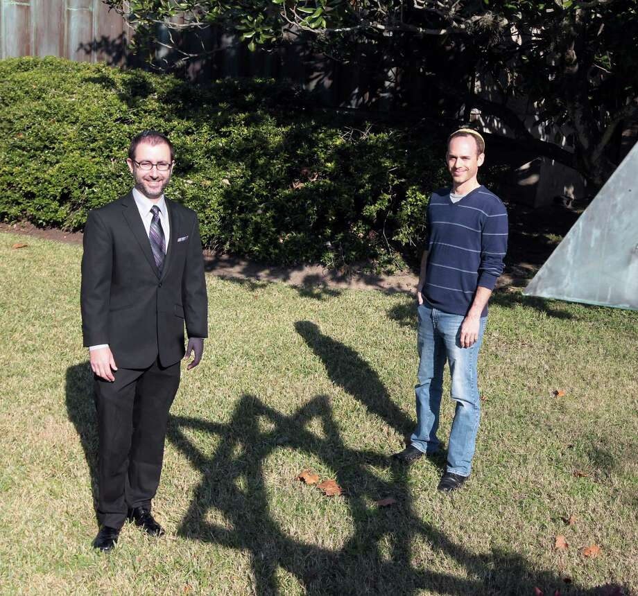 Congregation Brith Shalom Rabbi Ranon Teller left, and event organizer Matt Stein right, pose for a portrait for Tu B'Shvat, a sort of Jewish Earth Day Tuesday, Jan. 22, 2013, in Houston. ( James Nielsen / Chronicle ) Photo: James Nielsen, Staff / © Houston Chronicle 2013