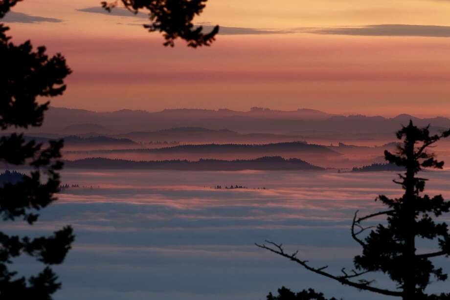 The sunset colors the sky in pastels above a heavy fog that has been hanging over the southern Willamette Valley in Oregon for more than a week. Photo: Kevin Clark, Associated Press