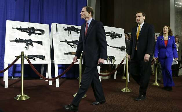 From left; Sen. Richard Blumenthal, D-Conn., Sen. Chris Murphy, D-Conn., and Rep. Elizabeth Esty, D-Conn. arrive for a news conference on Capitol Hill, in Washington to introduce legislation on assault weapons and high-capacity ammunition feeding devices, Thursday, Jan. 24, 2013.  Congressional Democrats are reintroducing legislation to ban assault weapons but the measure faces long odds even after last month's mass school shooting in Newtown, Conn. The measure being unveiled Thursday is authored by Democratic Sen. Dianne Feinstein of California, who wrote the original assault weapons ban. That law expired in 2004 when Congress refused to renew it under pressure from the National Rifle Association. Photo: Manuel Balce Ceneta, Associated Press