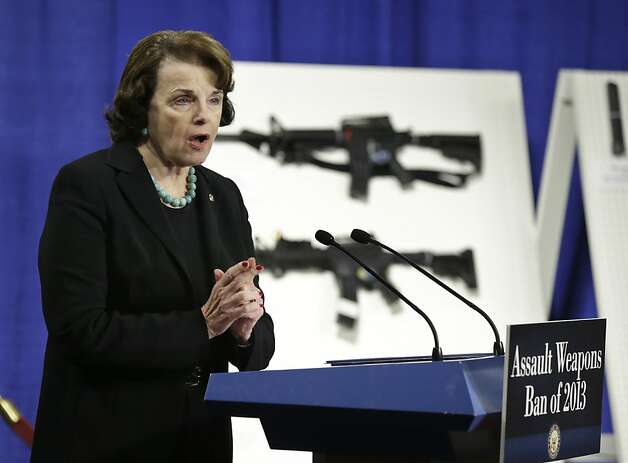 Sen. Dianne Feinstein, D-Calif. speaks during a news conference on Capitol Hill in Washington, Thursday, Jan. 24, 2013, to introduce legislation on assault weapons and high-capacity ammunition feeding devices. Congressional Democrats are reintroducing legislation to ban assault weapons but the measure faces long odds even after last month's mass school shooting in Newtown, Conn. The measure being unveiled Thursday is authored by Democratic Sen. Dianne Feinstein of California, who wrote the original assault weapons ban. That law expired in 2004 when Congress refused to renew it under pressure from the National Rifle Association. Photo: Manuel Balce Ceneta, Associated Press