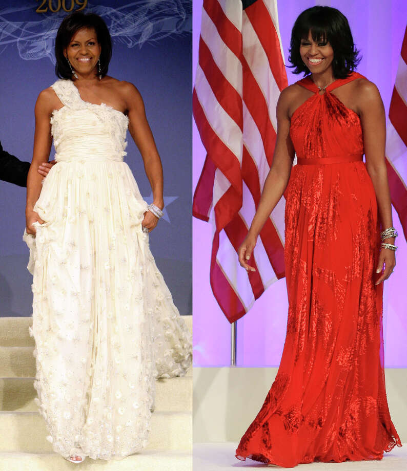 This combo image shows first lady Michelle Obama as she arrives at the Inaugural Ball in Washington on Jan. 21, 2009, left, and Jan. 21, 2013, right. Michelle Obama made it a fashion tradition Monday night, wearing a custom-made Jason Wu gown to the inaugural balls. The ruby-colored dress was a follow-up to the white gown Wu made for her four years ago when she was new to Washington, the pomp and circumstance, and the fashion press. (AP Photos/Jacquelyn Martin, Pablo Martinez Monsivais) Photo: Martin, Monsivais, Associated Press / AP