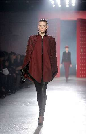 Wu used fall's more somber tones, such as oxblood and olive.