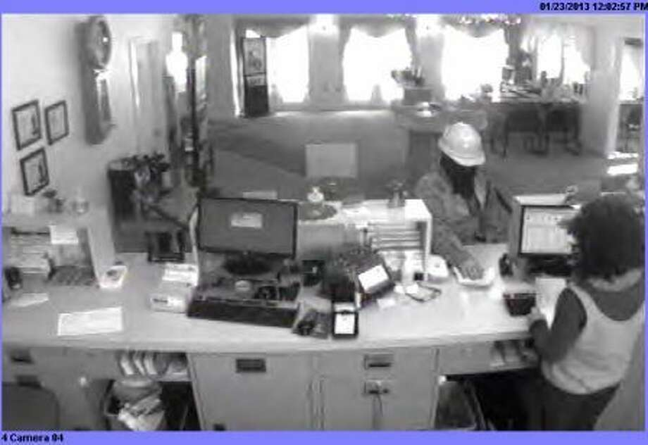 Footage from bank robbery in Sharon Springs (State Police photo)
