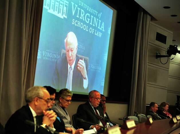 University of Virginia law professor Richard Bonnie, who served as a consultant on the review panel for the 2007 shooting at Virginia Tech, speaks via video conference at the first meeting of the Sandy Hook Advisory Commission Thursday, Jan. 24, 2013 at the Legislative Office Building in Hartford, Conn. Photo: Autumn Driscoll / Connecticut Post