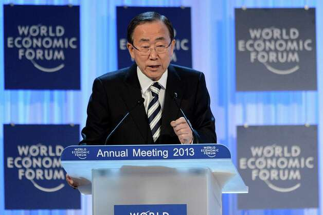 United Nations Secretary General Ban Ki-moon gestures during his speech, at a plenary session of the 43rd Annual Meeting of the World Economic Forum, WEF, in Davos, Switzerland, Thursday, Jan. 24, 2013.  (AP Photo/Keystone/Laurent Gillieron) Photo: Laurent Gillieron, Associated Press / KEYSTONE