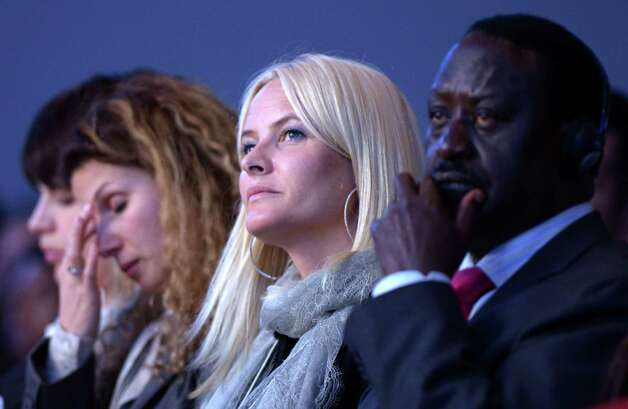 Norway's Crown Princess Mette-Marit (C) listens during a session of the 2013 World Economic Forum Annual Meeting on January 24, 2013 at the Swiss resort of Davos. The World Economic Forum (WEF) is taking place from January 23 to 27. AFP PHOTO / JOHANNES EISELEJOHANNES EISELE/AFP/Getty Images Photo: JOHANNES EISELE, AFP/Getty Images / AFP