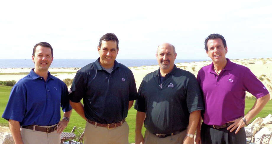 Pictured at Diamante Cabo San Lucas in Mexico are four of the Immaculate High School graduates who are involved in this development. From left to right they are: Greg Carrafiello, chief development officer; Ken Jowdy, chief executive officer; attorney Taffy Jowdy (Ken's brother) and Dave Osborne, project sales manager. Mark Thalman is not pictured. Photo: Contributed Photo