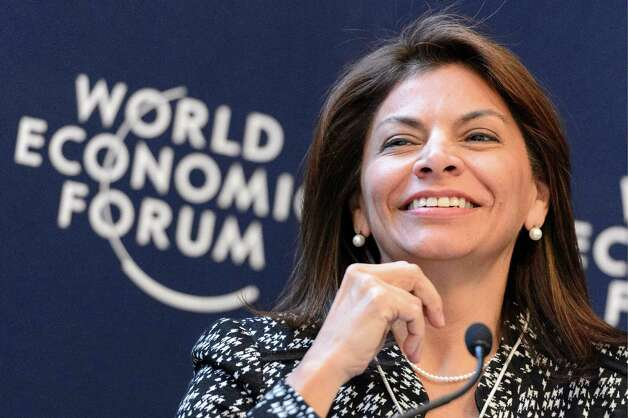Costa Rica's President Laura Chinchilla smiles during a panel session of the 43rd Annual Meeting of the World Economic Forum, WEF, in Davos, Switzerland, Thursday, Jan. 24, 2013.  (AP Photo/ Keystone/ Laurent Gillieron) Photo: Laurent Gillieron, Associated Press / KEYSTONE