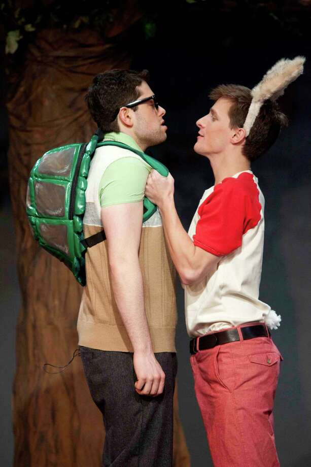 "Casey Shane, left, and Alex Goley, right, portray Tommy Tortoise and Harvey Hare in the Northeast Children's Theatre Co.'s 2012 world premiere production of ""The Tortoise and The Hare,"" a contemporary musical comedy based on Aesop's fable, at Curtain Call's Kweskin Theatre in Stamford. Performances will be held in early February at Fairfield Theatre Co.'s StageOne. Photo: Kerry Long/contributed Photo"