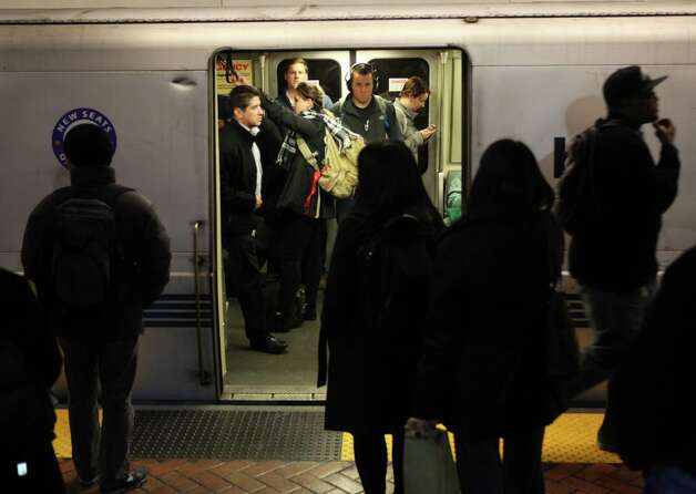 Commuters wait for trains in the Montgomery BART station on the evening of January 10, 2013 in San Francisco, Calif. Photo: Pete Kiehart, The Chronicle