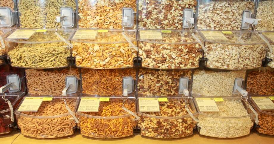 Bulk snack mixes and dried veggies in the bulk cooking department in the new Whole Foods Market in Katy, Jan. 24, 2013.