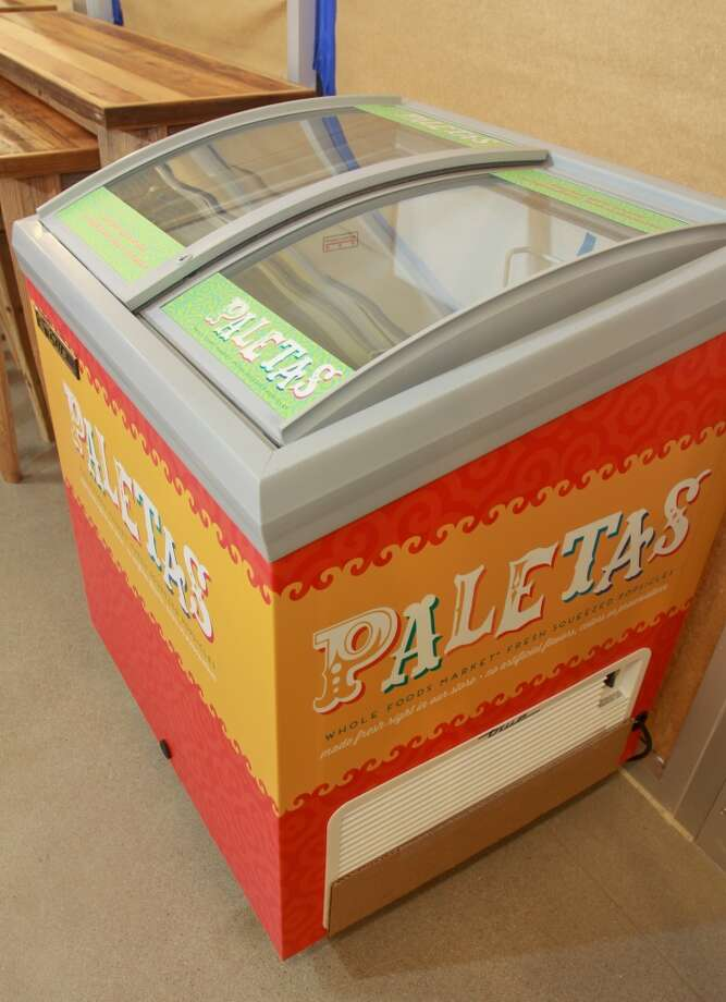 The paletas freezer case for popsicles that are made fresh in the new Whole Foods Market in Katy, Jan. 24, 2013.