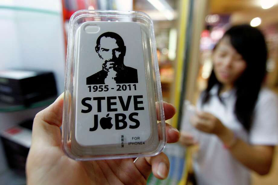 An iPhone 4 hard case cover with a portrait of Steve Jobs was on sale October 9, 2011 in Shenzhen, Guangdong Province of China. Apple co-founder Jobs died on October 5, 2011 at the age of 56. Photo: ChinaFotoPress, Getty / 2011 ChinaFotoPress