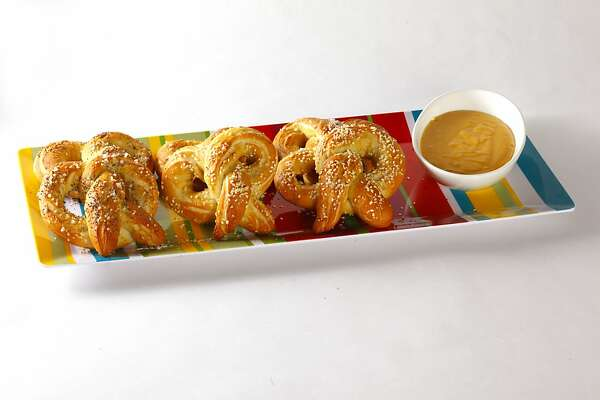 Pretzels and sauce as seen in San Francisco, California, on Wednesday, January 23, 2013. Food styled by Janny Hu.