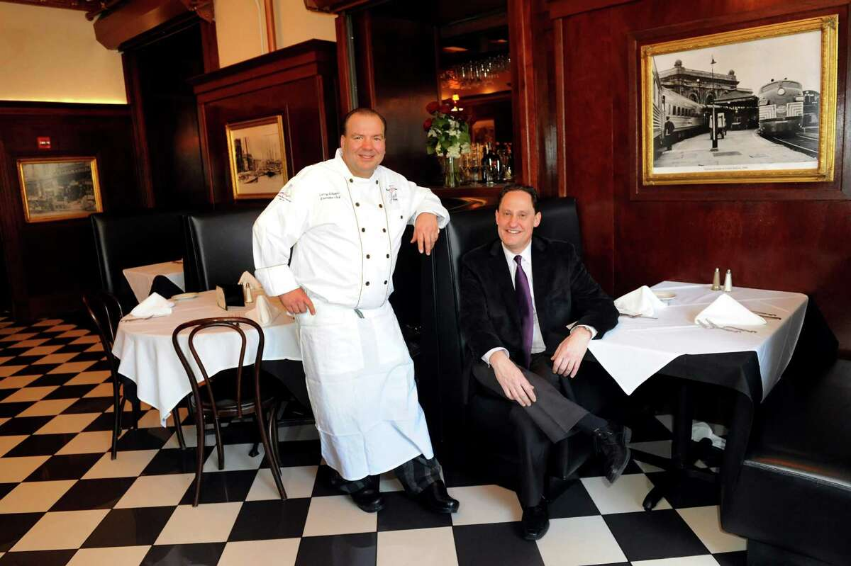 Chef Larry Schepici, left, and owner Brad Rosenstein at Jack's Oyster House on Tuesday, Jan. 22, 2013, in Albany, N.Y. Thursday is the 100th anniversary of the opening of Jack's, which was founded by Jack Rosenstein, Brad's grandfather. (Cindy Schultz / Times Union)