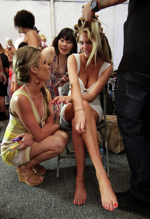 Designer Angela Chittenden and Upton pose backstage at the Beach Bunny Swimwear show during Mercedes-Benz Fashion Week Swim 2012 in 2011 in Miami Beach, Florida. Photo: Alexander Tamargo / 2011 Alexander Tamargo