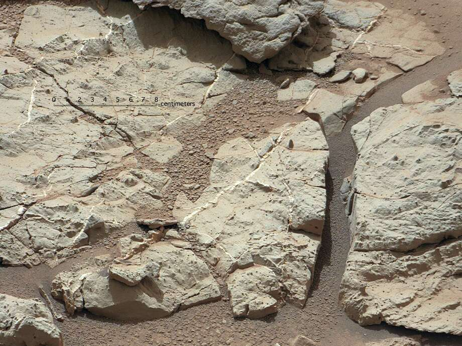 "''Veins in 'Sheepbed' Outcrop''This image of an outcrop at the ""Sheepbed"" taken by NASA's Curiosity Mars rover with its right Mast Camera shows well-defined veins filled with whitish minerals, interpreted as calcium sulfate.