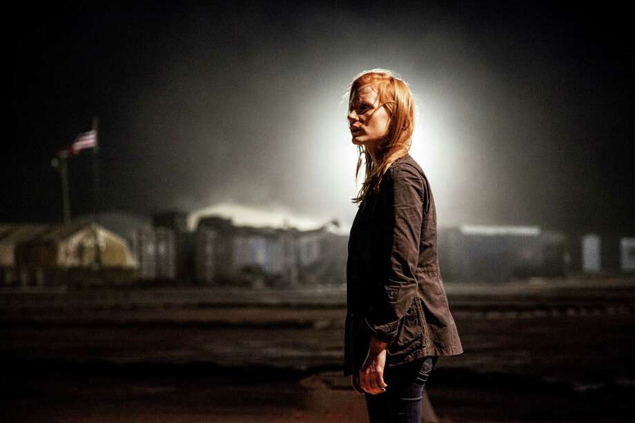 """This undated publicity photo released by Columbia Pictures Industries, Inc. shows Jessica Chastain,  as Maya, a member of the elite team of spies and military operatives stationed in a covert base overseas, who secretly devoted themselves to finding Osama Bin Laden in Columbia Pictures' new thriller, """"Zero Dark Thirty,"""" directed by Kathryn Bigelow. Chastain received an Academy Award nomination for best actress for her portrayal of the young, obsessed CIA operative driving the search. (AP Photo/Columbia Pictures Industries, Inc., Jonathan Olley) Photo: Jonathan Olley, HONS / Columbia Pictures Industries, In"""