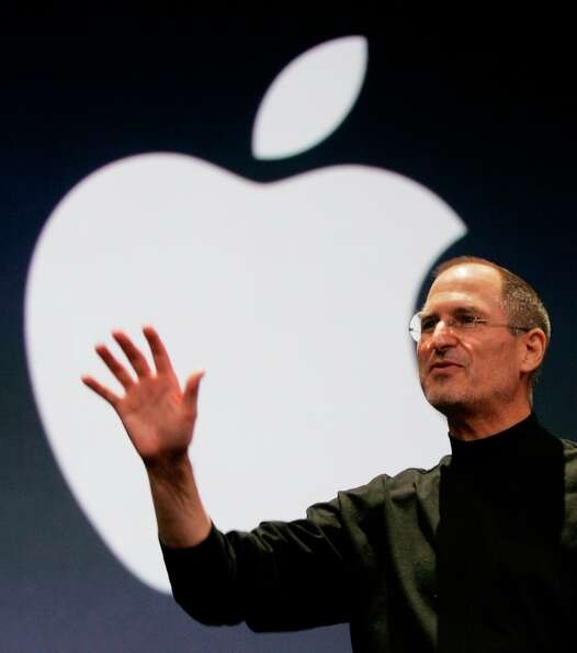 Apple CEO Steve Jobs during his keynote address at MacWorld Conference & Expo in San Francisco, Tues