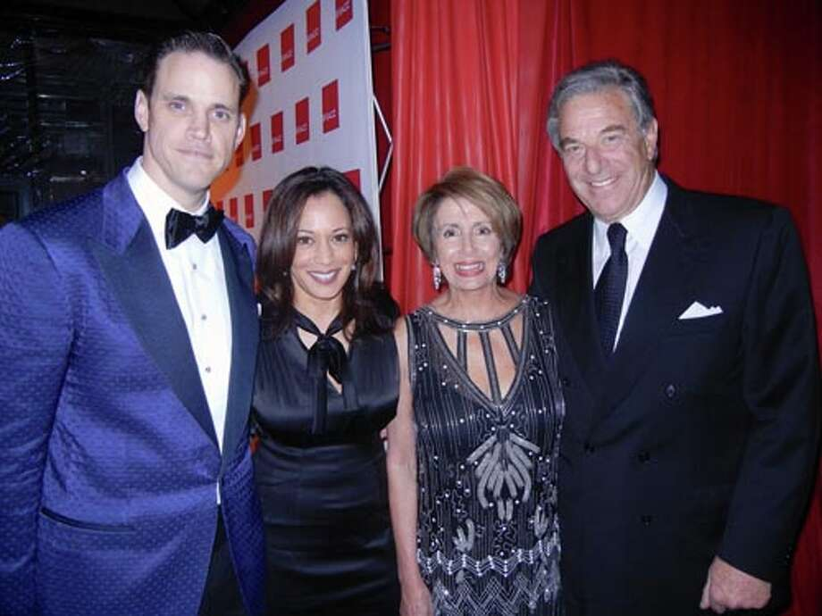 SFJAZZ Trustee and Gala Chairman Robert Mailer Anderson (left) with District Attorney Kamala Harris and Rep. Nancy Pelosi and her husband, Paul Pelosi